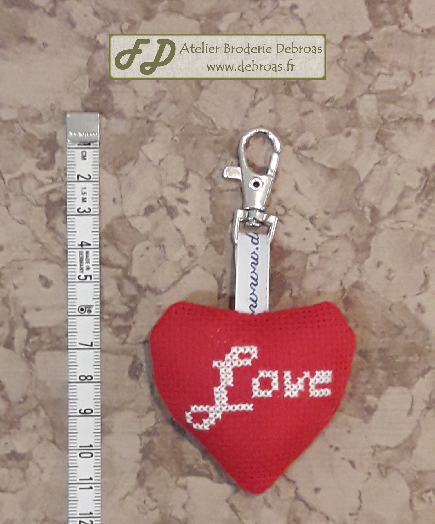 Pco55lovouarouge petit coeur love ouate toile 55 rouge