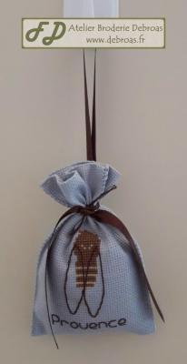 Sachet lavande cigale toile bleue gris